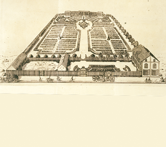 Illustration of the botanical garden, today known as The Linnaeus Garden, designed by the architect Carl Hårleman 1745.