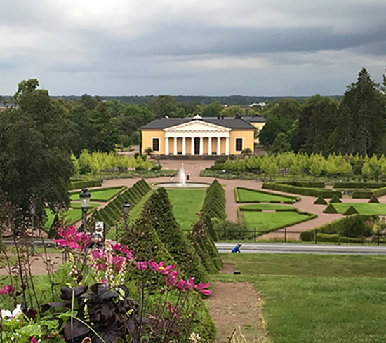 The Baroque Garden with the orangery building Linneanum, as seen from Uppsala Castle.